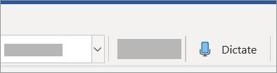 Uma imagem do botão Ditar no friso.