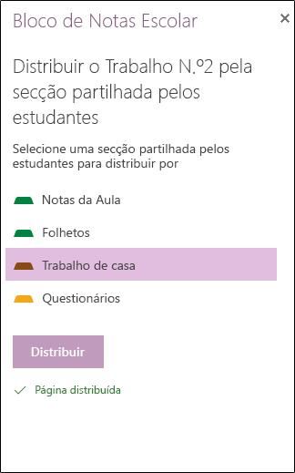 Opções de distribuição de páginas para estudantes