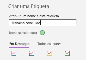 Criação de etiquetas personalizadas no OneNote para Windows 10