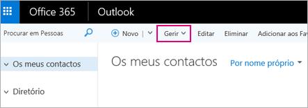 Uma imagem do aspeto da página Pessoas no Outlook na Web
