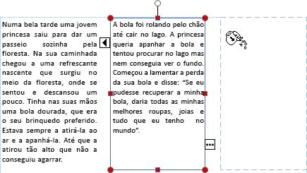 Captura de ecrã de uma caixa de texto com texto em excesso prestes a passar para outra caixa de texto.