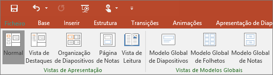 Mostra o menu Ver no PowerPoint