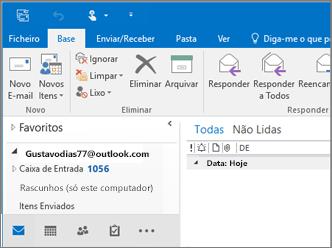 Uma imagem do assente quando tem uma conta Outlook.com no Outlook 2016.