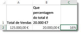 $125.000 na célula a2, $20.000 na célula b2, e 16% na célula c2