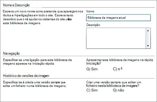 Caixa de diálogo para adicionar o nome, diagrama, navegação iniciação rápida e controlo de versões.