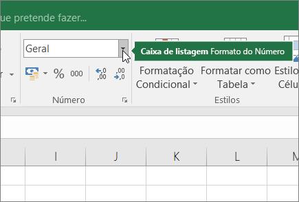 Caixa de listagem Formato do Número