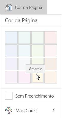 Opções de cor da página no OneNote para Windows 10