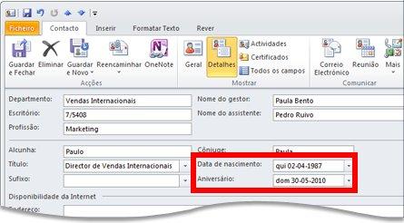 Vista de detalhes de um contacto do Outlook