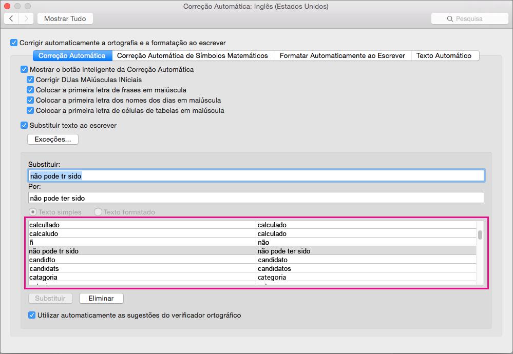 A lista de Correção Automática junta texto que identifica para substituir por texto que insere como substituição.