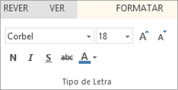 Grupo Tipo de Letra no PowerPoint Online
