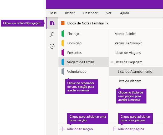 Secções e páginas no OneNote para Windows 10