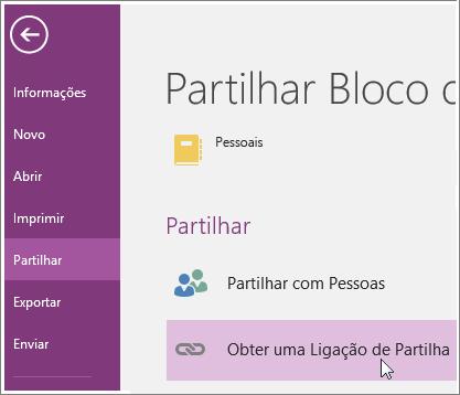Captura de ecrã da IU Obter Uma Ligação de Partilha no OneNote 2016.