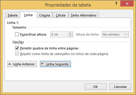 Separador de linha na caixa de diálogo Propriedades da tabela