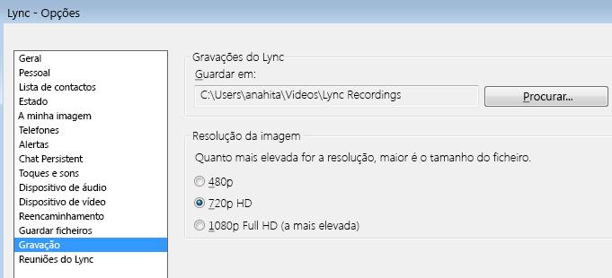 Captura de ecrã da localização e resolução da gravação