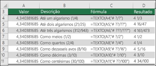 Códigos de formatação para frações