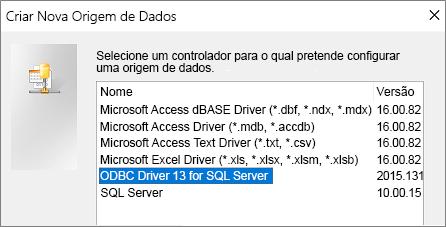 Caixa de diálogo Criar Nova Origem de Dados