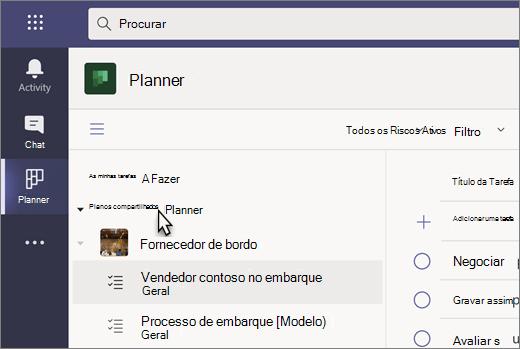 Captura de ecrã da aplicação Tarefas no Teams, atualmente denominada Planner