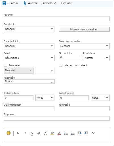 Formulário de detalhes da tarefa do Outlook.com