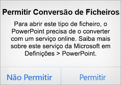 Mostra a mensagem de opções de privacidade ODF no PowerPoint para iPhone