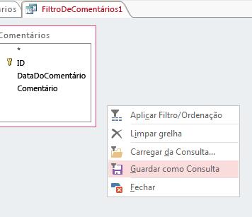 Menu de contexto em Filtro/Ordenação Avançados