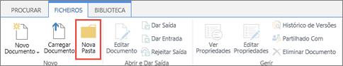 Imagem do Friso ficheiros do SharePoint com a nova pasta realçada.