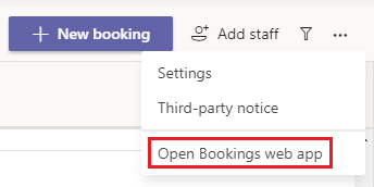 Opção de Equipas para Abrir Reservas web