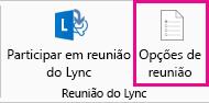 Captura de ecrã das opções de Reunião do Lync no friso