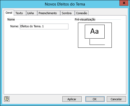 Captura de ecrã apresentando a caixa de diálogo Criar novos efeitos de tema