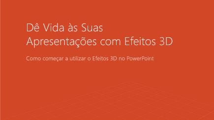 Captura de ecrã a mostrar a capa de um modelo do PowerPoint em 3D