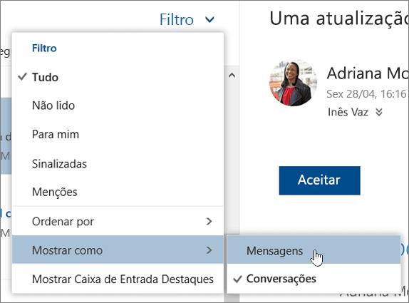 Uma captura de ecrã a mostrar o menu Filtrar com a opção Mostrar como selecionada