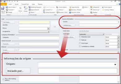 Captura de ecrã a mostrar a secção de informações de origem do registo