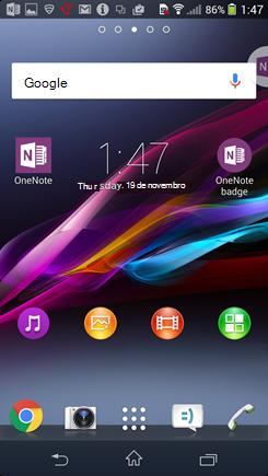 Captura de ecrã do ecrã principal do Android com o símbolo do OneNote.