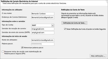 Introduzir as definições do seu servidor do Gmail
