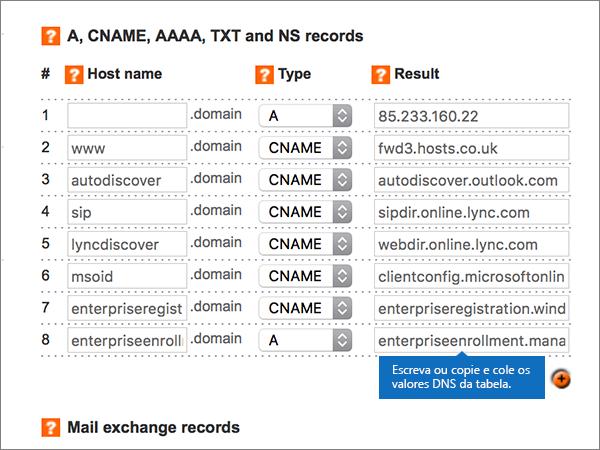 Introduzir valores na página Add/Modify DNS Zone