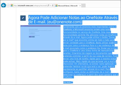 Captura de ecrã que mostra parte de uma página Web selecionada para copiar.