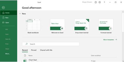 Ecrã de boas-vindas no menu Ficheiro do Excel