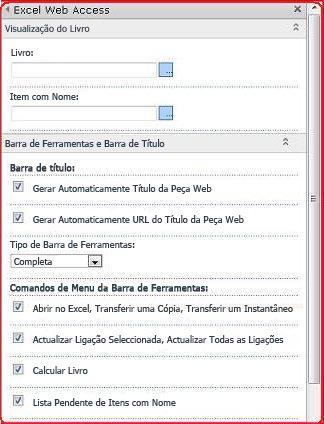 Selecione e introduza as propriedades para a Peça Web Excel Web Access no painel ferramentas.