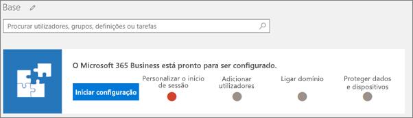 Captura de ecrã do assistente de configuração do Business Cloud Suite.