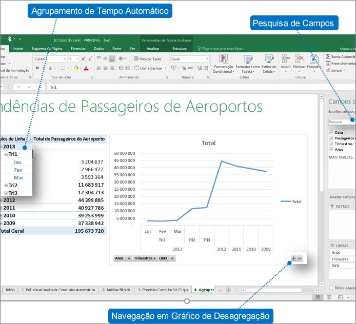 Tabela Dinâmica com notas de aviso que mostram as novas funcionalidades no Excel 2016
