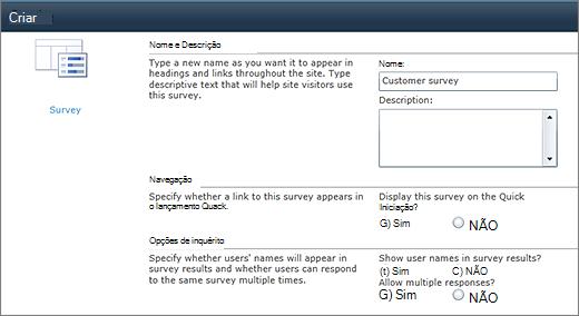 Página de opções do SharePoint 2010