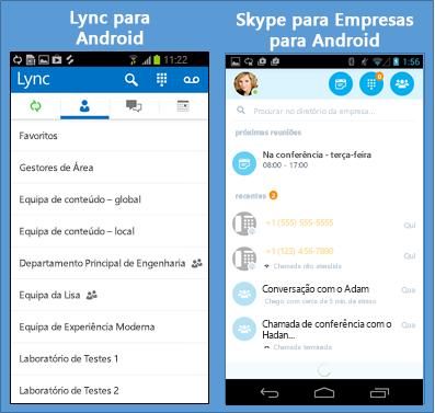 Capturas de ecrã lado a lado do Lync e do Skype para Empresas