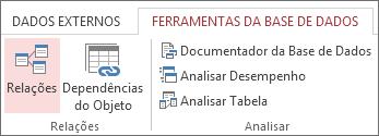 Comando Relações no separador Ferramentas da Base de Dados