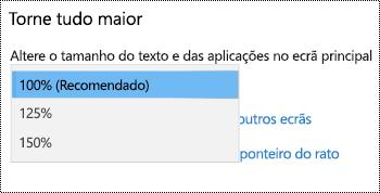 Página de definições de visualização do Windows em definições de Facilidade de acesso a mostrar certifique tudo maiores opção com o menu pendente expandido.