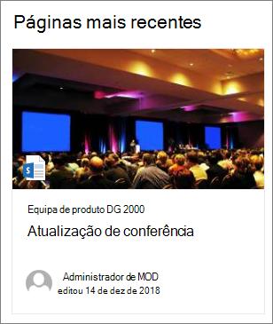 Exemplo da imagem da miniatura da página na parte web do conteúdo destacado