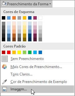 Captura de ecrã da opção Preenchimento da Imagem a partir do Preenchimento da Forma no separador Formatar no Publisher.