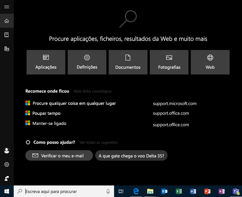 Pesquisa no Windows 10