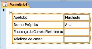 Campos contidos num esquema empilhado num formulário