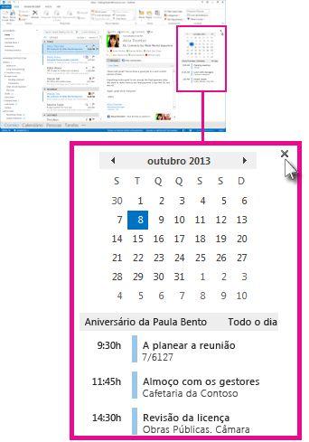 comando 'remover pré-visualização' na caixa de pré-visualização do calendário afixada
