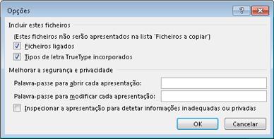 Caixa de diálogo Opções em Compactar para CD