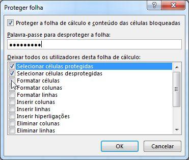 A caixa de diálogo Proteger Folha